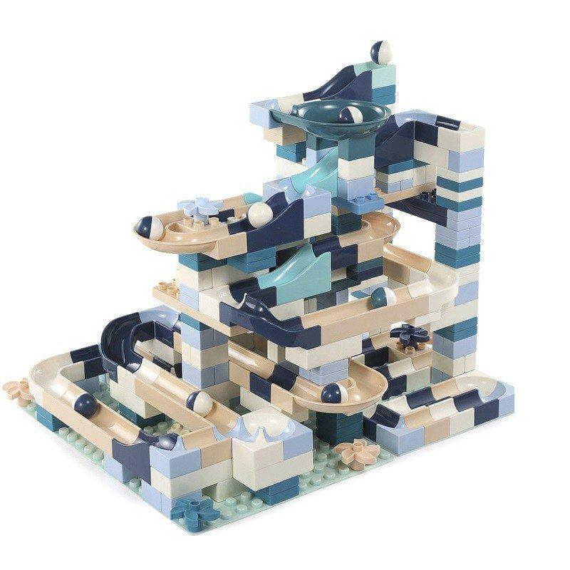 ビー玉転がし 玉ころがし くすみカラー 360ピース ブロック ルーピング コースター ビーズコースター スロープトイ プレゼント クリスマス 知育玩具 学習玩具 おもちゃ ブロック 入学 お祝い こどもの日 男の子 女の子