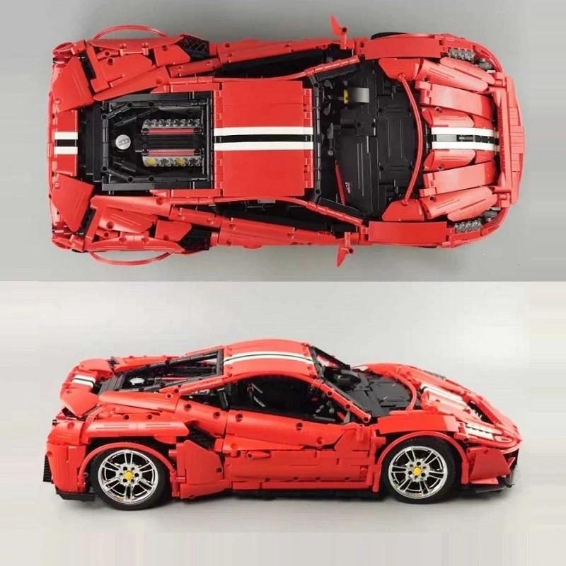 レゴ 互換品 フェラーリ 488 ピスタ デザイン レッド スポーツカー レーシングカー スーパーカー テクニック プレゼント クリスマス レースカー 車 おもちゃ ブロック 知育玩具 入学 お祝い こどもの日