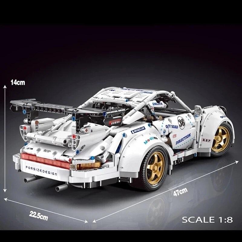 ラジコン レゴ 互換品 ポルシェ 911 ホワイト モーターセット レトロ デザイン スポーツカー レーシングカー スーパーカー テクニック ブロック クリスマス プレゼント MOC おもちゃ ブロック 互換 知育玩具 入学 お祝い こどもの日