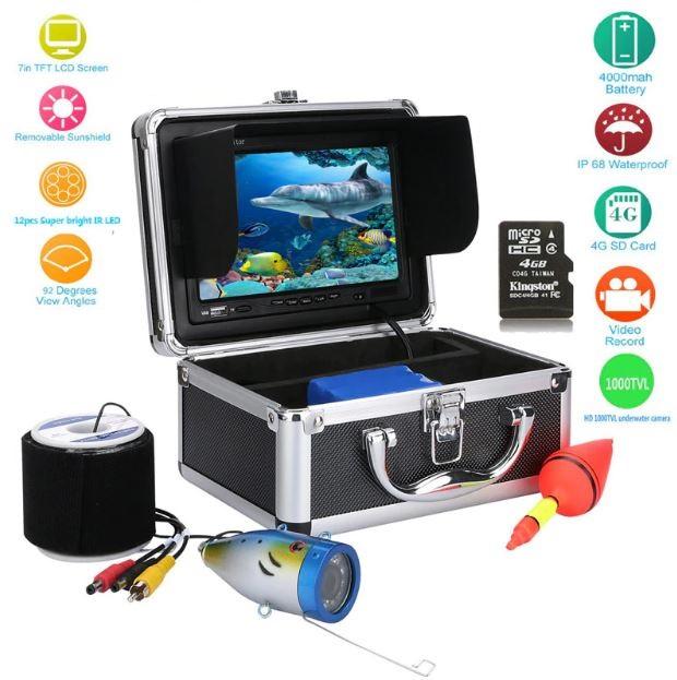 水中カメラ 釣りカメラ 赤外線/白色 LED 12灯 アルミ製カメラ 録画 7インチモニター 20-50mケーブル GAMWATER