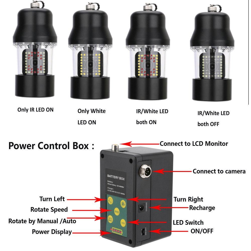 LED38灯 (赤外線LED18灯+白色LED20灯) 360度回転 CCD 水中カメラ 7インチモニター 釣りカメラ  キット ケーブル(20/50/100m) LED切替 GAMWATER  魚群探知機 ソナー フィッシュファインダー アクションカメラ