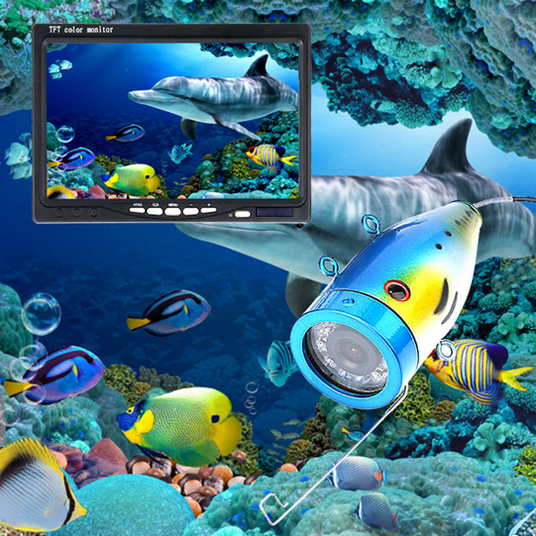 水中カメラ 釣りカメラ アルミ製 赤外線/白色 LED 12灯 9インチモニター 20-50m ケーブル キット GAMWATER