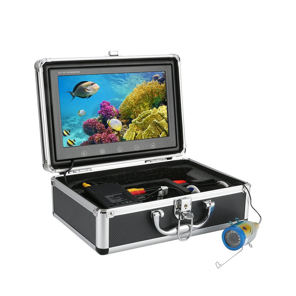 水中カメラ 釣りカメラ アルミ製 赤外線/白色 LED 12灯 10.インチモニター 20-50m ケーブル キット GAMWATER