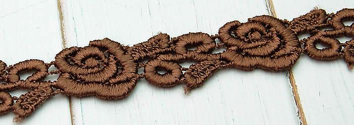 【お買得】 1.5cm幅かわいいブラウンバラケミカルレース(1m)