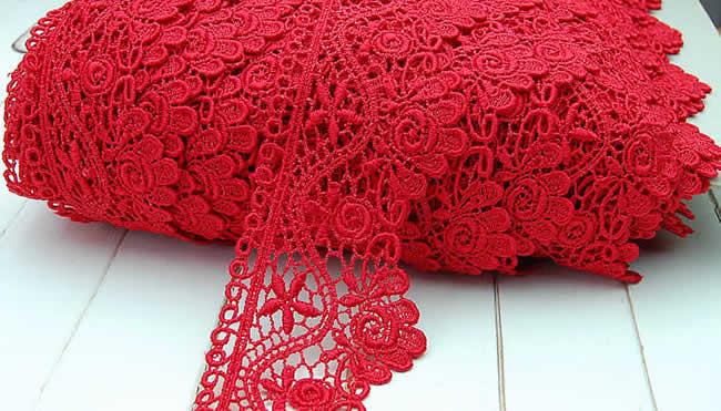 【お買得】 6cm幅 豪華な赤のバラケミカルレース(1m)