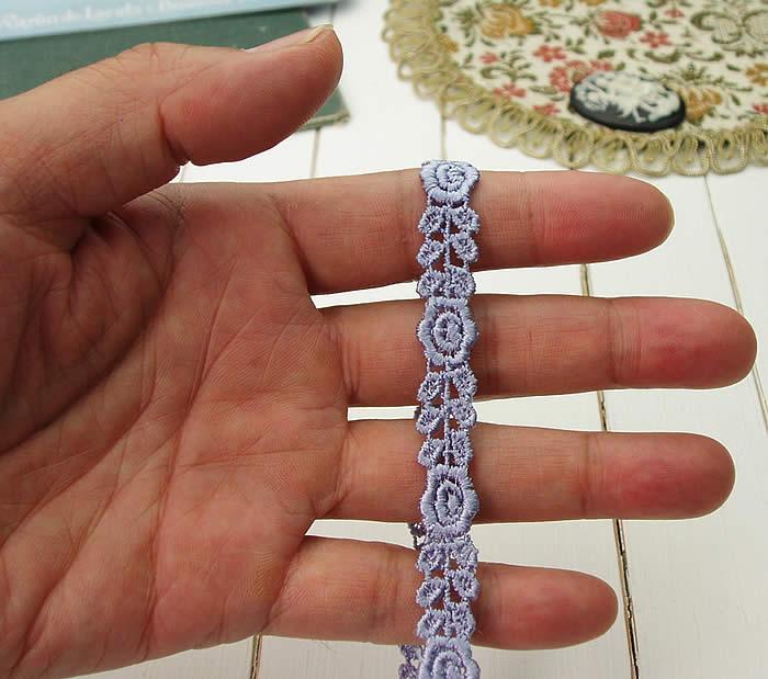 【お買得】 1cm幅パープルかわいいバラケミカルレース(1m)