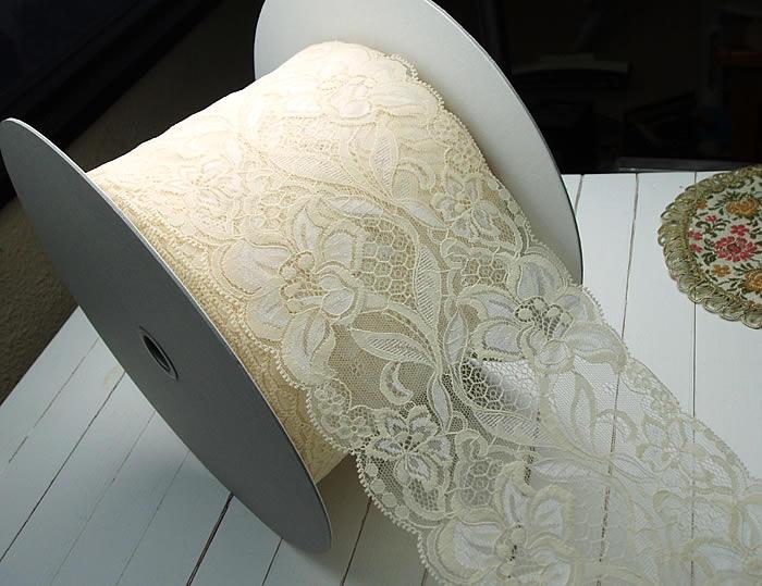 【お買得】14cm幅きれいなアイボリーのラッセルレース
