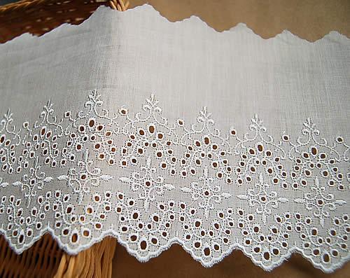 12.5cm幅オフ白の綿レース(1m)