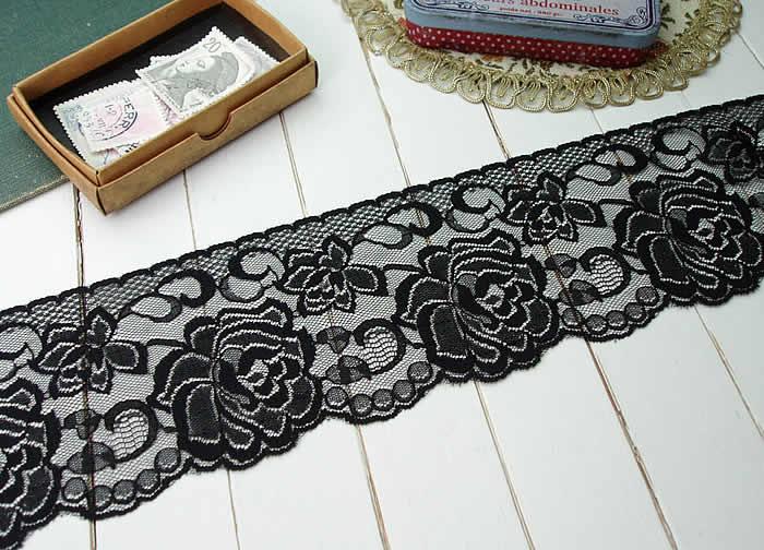 【お買得】8.5cm幅きれいな黒のラッセルレース