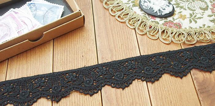 【お買得】 3cm幅 綿素材の黒バラミカルレース(1m)