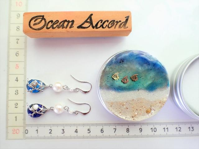 海のしずく&珊瑚のピアス(サンシャイン水族館限定柄うみかん入り)