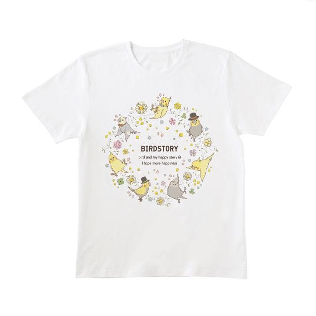 ことりとおはな(オカメインコ)Tシャツ