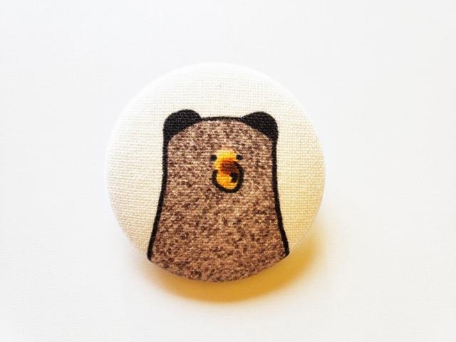 ヒグマの素朴なブローチ(クリップ付き)