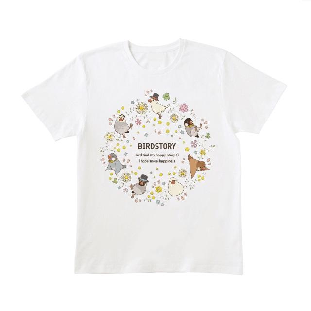 ことりとおはな(文鳥)Tシャツ