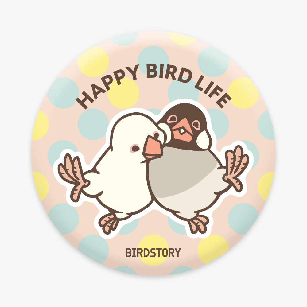 缶ミラー(HAPPY BIRD LIFE / 文鳥)