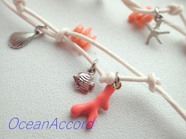 ガラスのネックレス(珊瑚、貝殻、ヒトデモチーフ) A