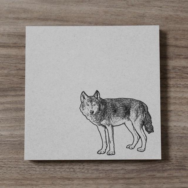 再生紙スクエアメモ オオカミ
