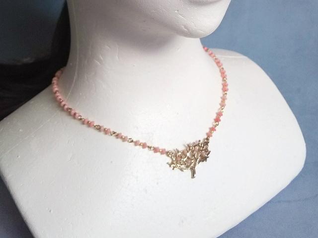 珊瑚ビーズのネックレス(ピンク)