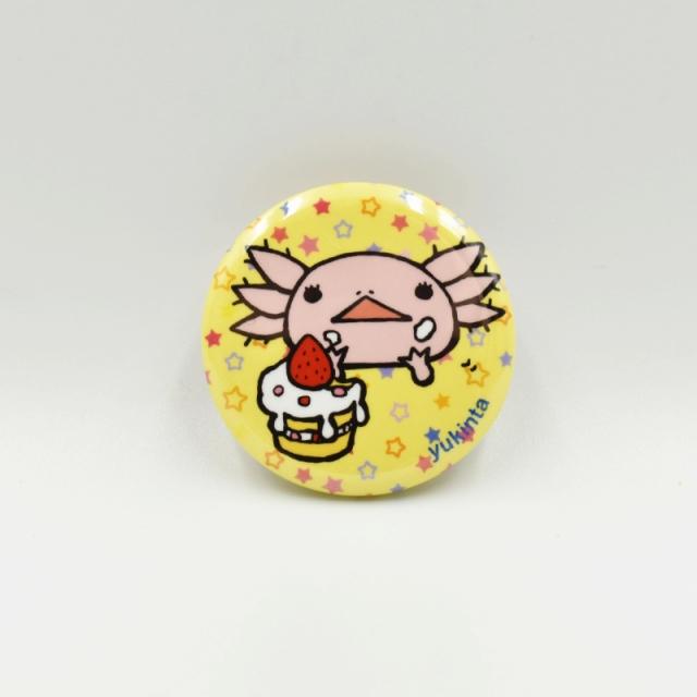 ウーパーちゃん缶バッジ32mm(ショートケーキ/イエロー)