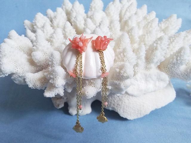 珊瑚をたゆたうお魚の2WAYピアス