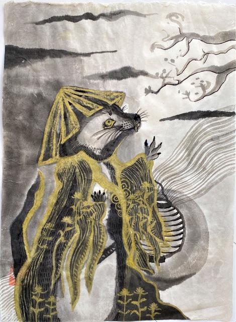 妖怪水墨画シリーズ「獺(かわうそ)」