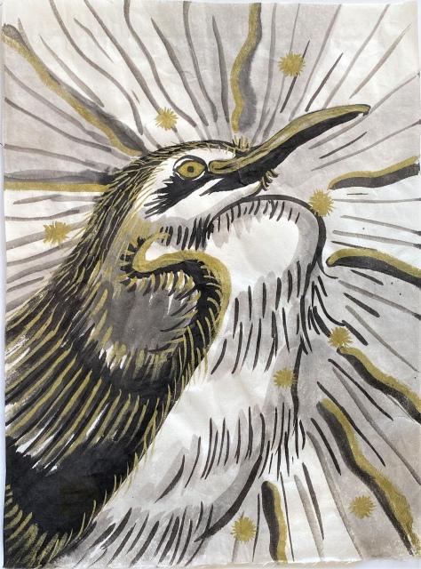 妖怪水墨画シリーズ「青鷺火(あおさぎのひ)」