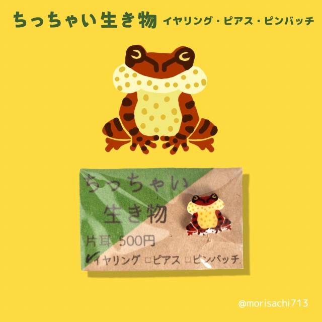 ちっちゃい生き物【タゴガエル】 ピアス・イヤリング・ピンバッチ ピンバッヂ