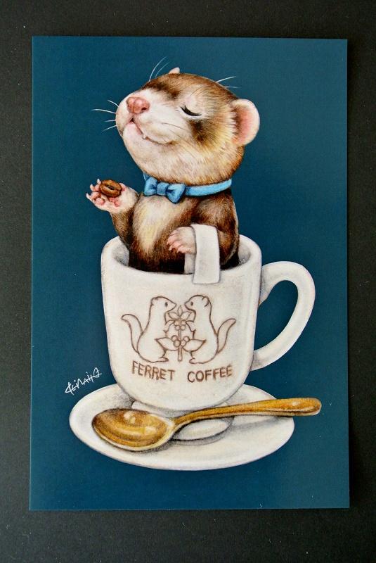 いたちカフェシリーズポストカード/コーヒーカップ