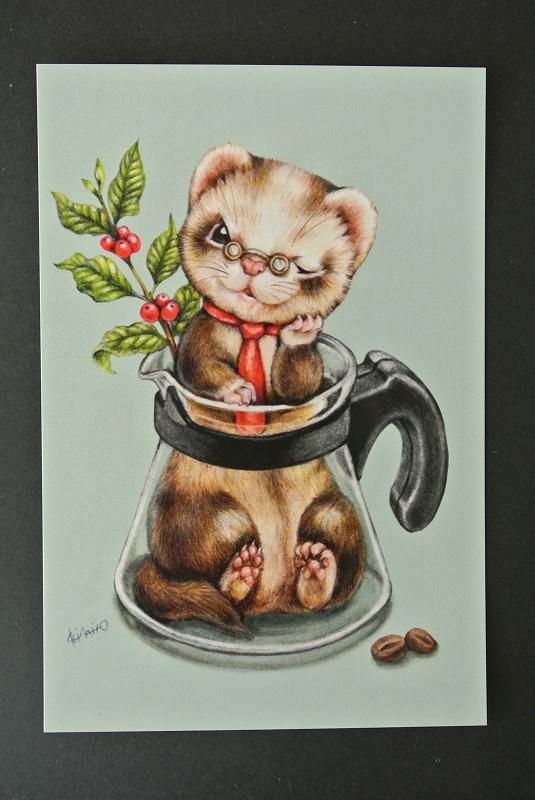 いたちカフェシリーズポストカード/コーヒーサーバー