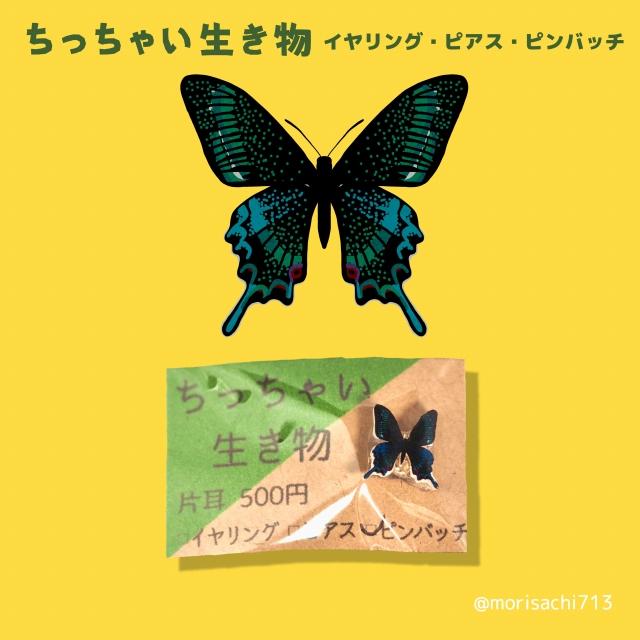 ちっちゃい生き物【ミヤマカラスアゲハ】 ピアス・イヤリング・ピンバッヂ
