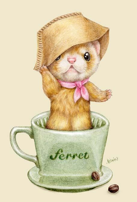 いたちカフェシリーズポストカード/コーヒーフィルター