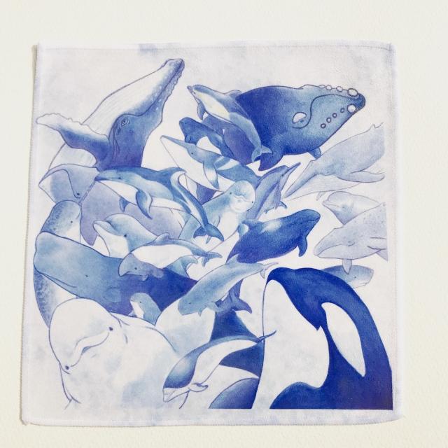 イルカとクジラのハンカチタオル