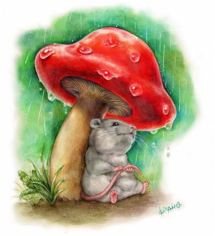 雨宿りネズミさんポストカード