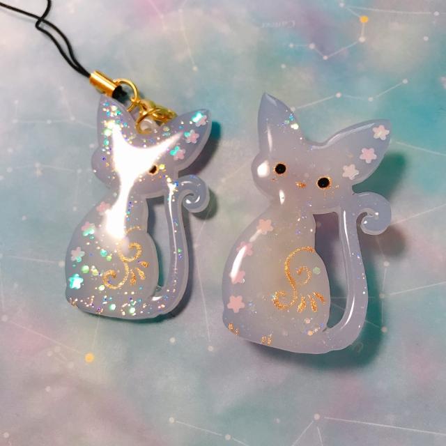 【いきもーる限定販売】猫のパステル柄ストラップ/ブローチ