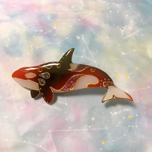 【いきもーる限定販売】赤黒シャチのストラップ/ブローチ