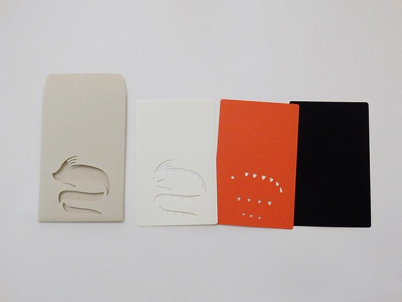 切り絵でつくるぽち袋型メッセージカード 「リュウグウノツカイ」