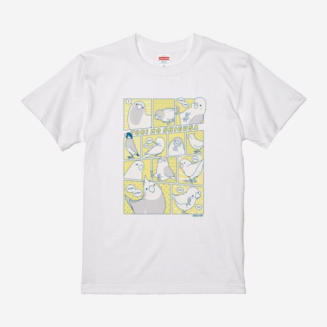 Tシャツ(TORI NO SHIGUSA / コミック / イエロー×ブルー)