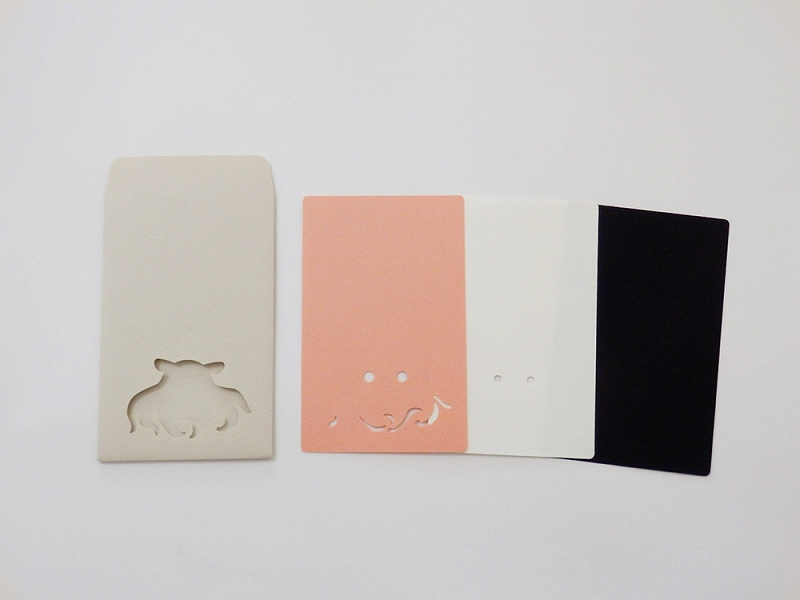 切り絵でつくるぽち袋型メッセージカード 「メンダコ」