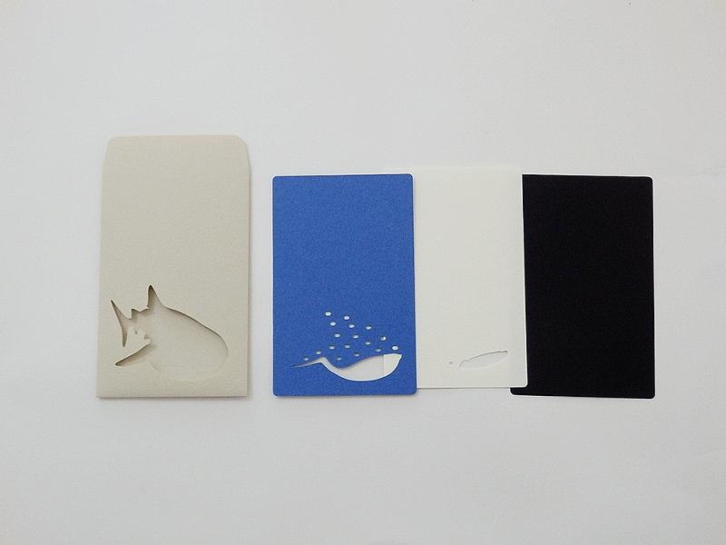 切り絵でつくるぽち袋型メッセージカード 「ジンベイザメ」