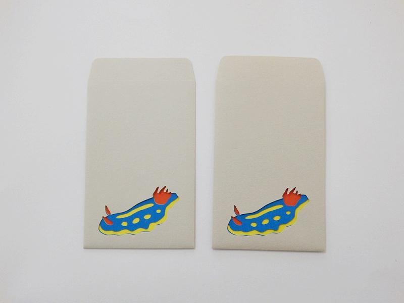 切り絵でつくるぽち袋型メッセージカード 「ウミウシ」