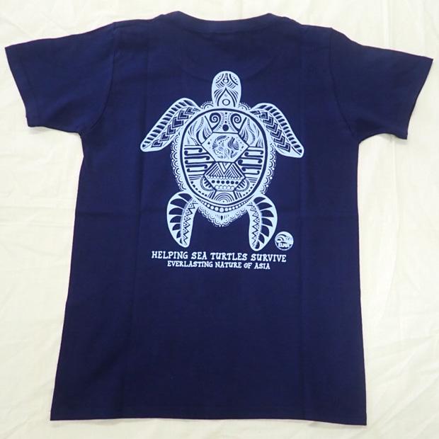 ウミガメTシャツ ネイビー 女性用 Lサイズ