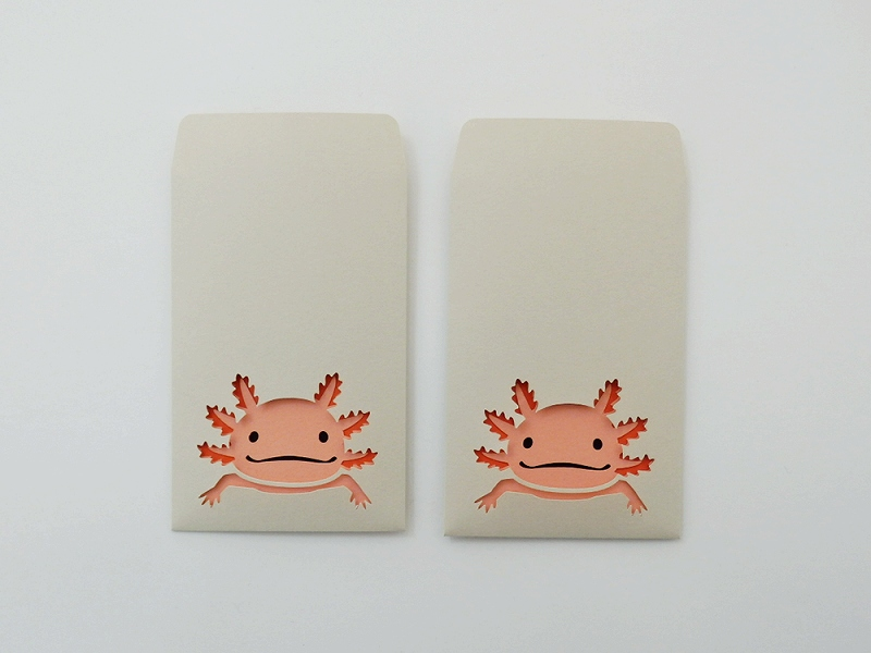 切り絵でつくるぽち袋型メッセージカード 「ウーパールーパー」