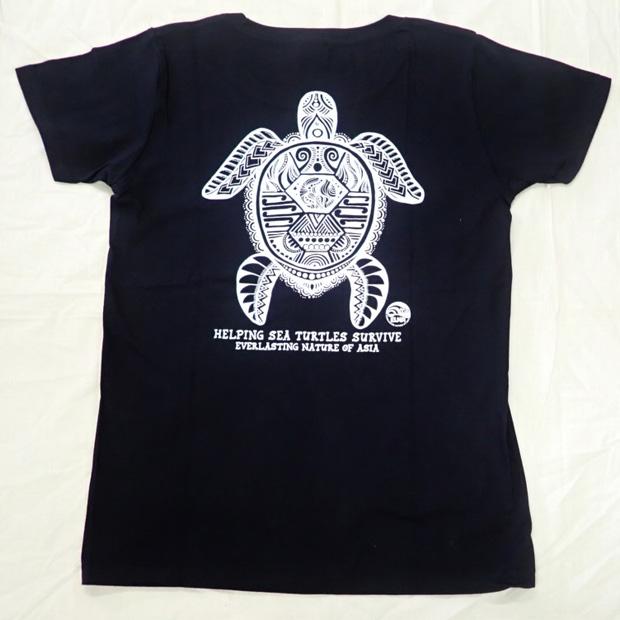 ウミガメTシャツ ブラック 女性用(Lサイズ)