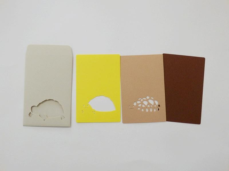 切り絵でつくるぽち袋型メッセージカード 「リクガメ」