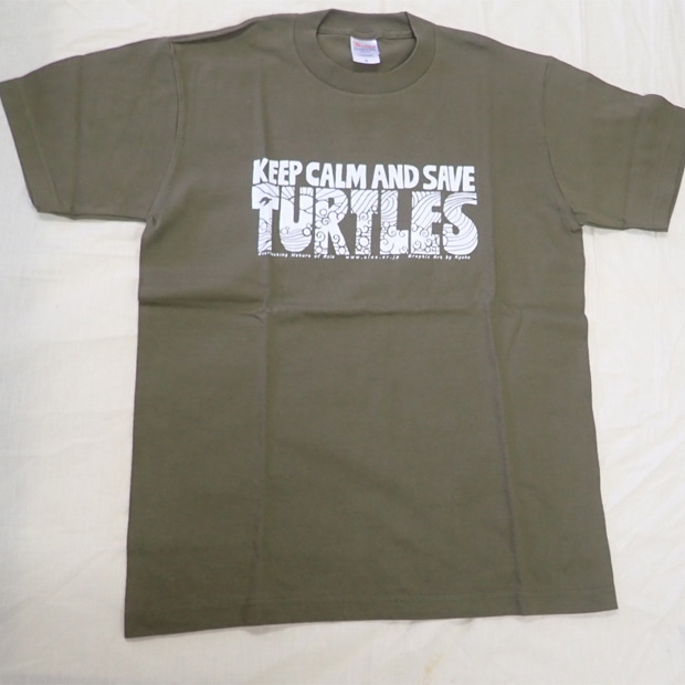 ウミガメTシャツ カーキ 男性用(Sサイズ)