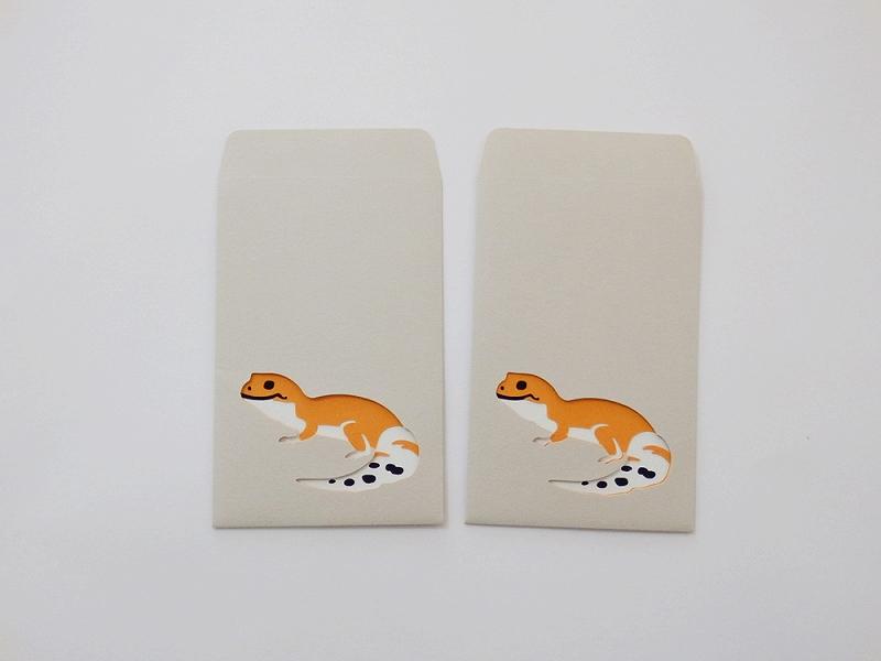 切り絵でつくるぽち袋型メッセージカード 「ヒョウモントカゲモドキ」
