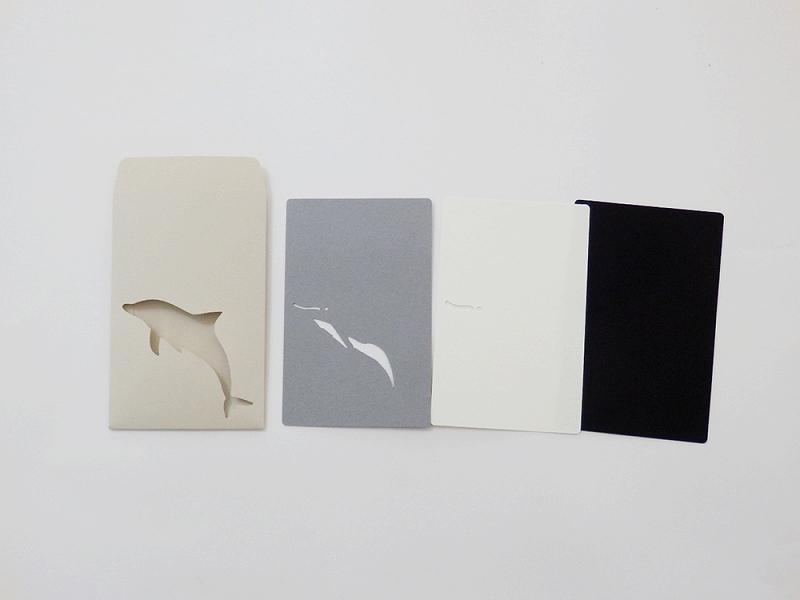 切り絵でつくるぽち袋型メッセージカード 「イルカ」