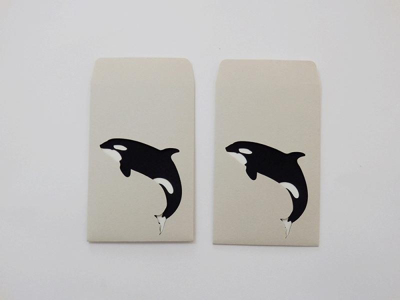 切り絵でつくるぽち袋型メッセージカード 「シャチ」