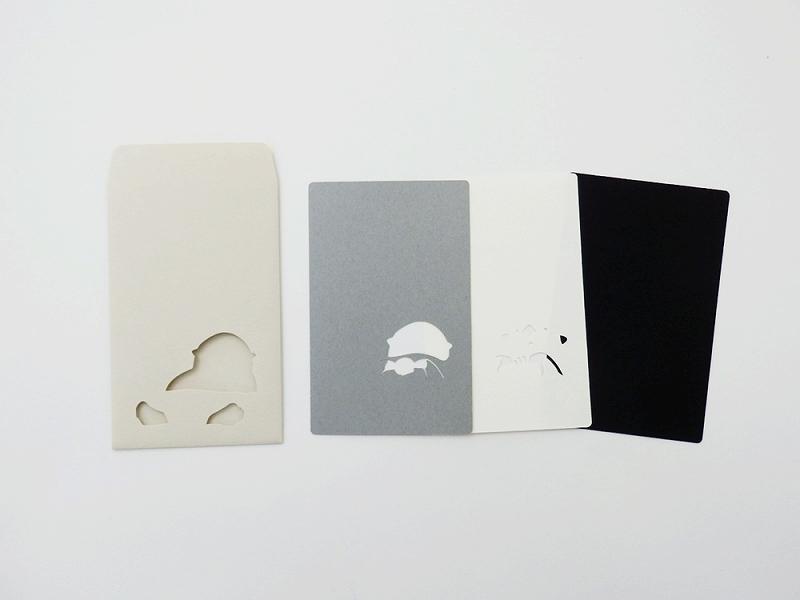 切り絵でつくるぽち袋型メッセージカード 「ラッコ」