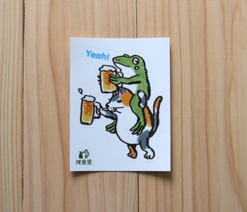 ミニステッカー 猫とカエルが乾杯